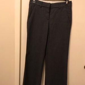 Theory Grey Stripe Wide Leg Wool Dress Pants